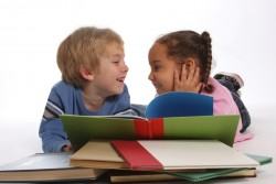 boy and girl reading sm